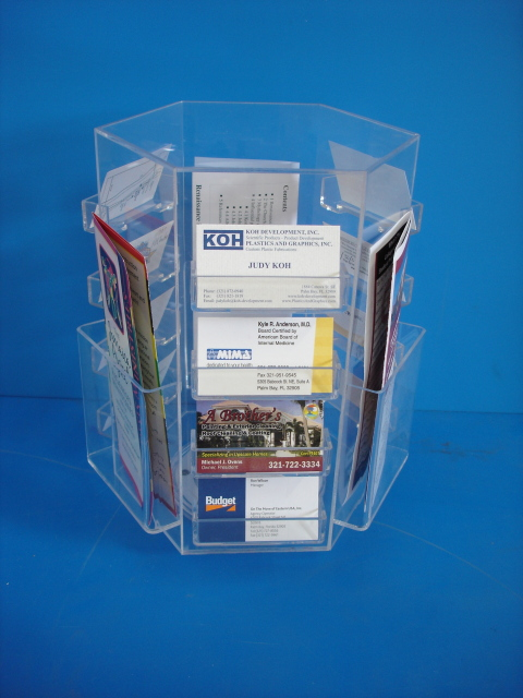 Plastics and graphics inc melbourne palm bay area florida displays compact hexagonal rotating display for business cards and brochures twelve pockets for business cards and three for brochures can be ordered with twelve colourmoves